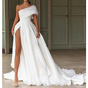 A-Line Wedding Dresses One Shoulder Sweep / Brush Train Chiffon Over Satin Short Sleeve Simple Modern with Split Front 2020