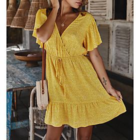 Women's 2020 Elegant Slim Sheath Dress - Solid Colored V Neck Spring  Summer Black Wine Yellow S M L XL