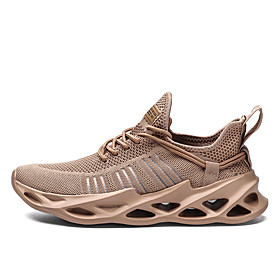 Men's Fall Sporty / Casual Daily Outdoor Trainers / Athletic Shoes Running Shoes / Walking Shoes Tissage Volant Breathable Non-slipping Shock Absorbing White /