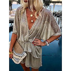 Women's Mini Shirt Dress - Half Sleeve Solid Color Summer V Neck Elegant Loose 2020 Silver S M L XL