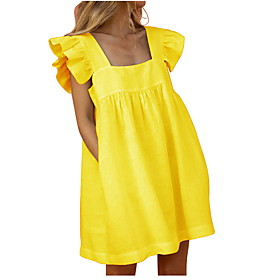 Women's Mini Sheath Dress - Sleeveless Solid Color Summer Square Neck Elegant Slim 2020 White Yellow S M L XL