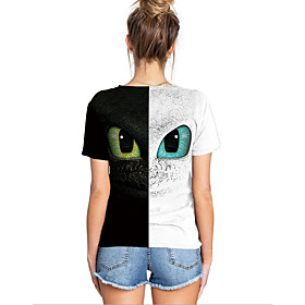 Men's Women's Geometric T-shirt Daily Weekend Round Neck White / Short Sleeve