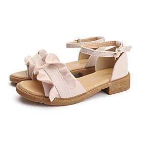 Women's Sandals Summer Block Heel Open Toe Sweet Daily Outdoor Suede Pink / Black