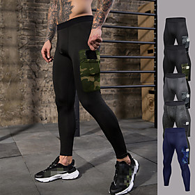 Men's High Waist Running Tights Pocket Camo / Camouflage Dark Grey Black / Green BlackGray Dark Blue Gray Exercise  Fitness Fitness Gym Workout Tights Leggings