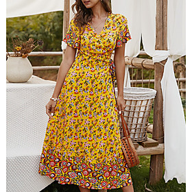 Women's A Line Dress - Short Sleeves Floral Summer V Neck Casual 2020 Yellow Green Navy Blue S M L XL