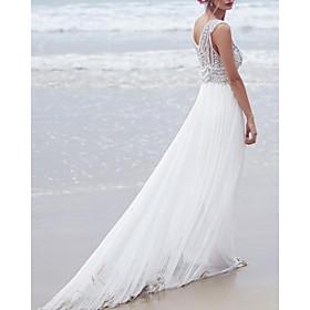 A-Line Wedding Dresses V Neck Sweep / Brush Train Lace Chiffon Over Satin Sleeveless Beach Boho Sexy See-Through with Beading 2020