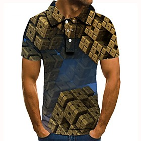 Men's 3D Graphic Polo Basic Daily Shirt Collar Brown / Short Sleeve