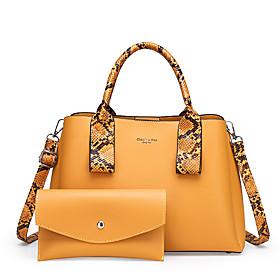 Women's Chain PU Bag Set 2020 Solid Color 2 Pieces Purse Set Black / Purple / Yellow