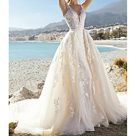 A-Line Wedding Dresses V Neck Court Train Lace Tulle Sleeveless Formal Sexy See-Through with Embroidery Appliques 2020