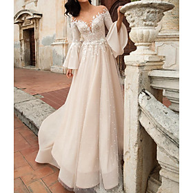 A-Line Wedding Dresses V Neck Court Train Chiffon Lace Tulle Long Sleeve Formal with Embroidery Appliques 2020