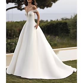 A-Line Wedding Dresses Off Shoulder Court Train Satin Sleeveless Simple with Beading 2020