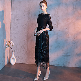 Sheath / Column Sparkle Black Homecoming Cocktail Party Dress Jewel Neck Half Sleeve Ankle Length Lace Sequined with Sash / Ribbon Tassel 2020
