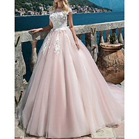 Ball Gown A-Line Wedding Dresses Jewel Neck Sweep / Brush Train Lace Tulle Short Sleeve Vintage Sexy Wedding Dress in Color with Embroidery Appliques 2020