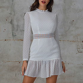 Women's A-Line Dress Knee Length Dress - Long Sleeve Print Solid Color Sequins Patchwork Zipper Spring Summer Elegant Mumu Going out Flare Cuff Sleeve 2020 Whi