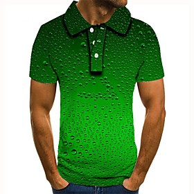 Men's 3D Graphic Polo Basic Daily Shirt Collar Green / Short Sleeve