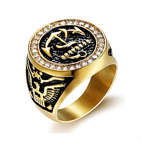 Men's Ring 1pc Gold Titanium Steel Round Stylish Gift Festival Jewelry Classic Anchor