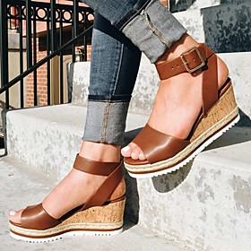 Women's Sandals Wedge Sandals Summer Wedge Heel Open Toe Daily PU White / Black / Gold