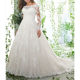 A-Line Wedding Dresses Off Shoulder Court Train Lace Tulle Long Sleeve Formal Plus Size Illusion Sleeve with Embroidery 2020
