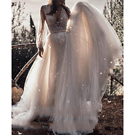 A-Line Wedding Dresses V Neck Sweep / Brush Train Lace Tulle Long Sleeve Boho Sexy See-Through with Sashes / Ribbons 2020