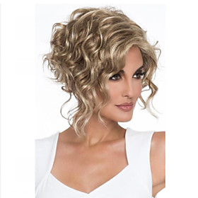 Synthetic Wig Curly Hathaway Halloween Christmas Middle Part Wig Short Golden Blonde Synthetic Hair 12 inch Women's Women Synthetic Sexy Lady Blonde hairjoy