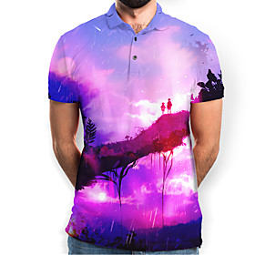 Men's Galaxy Graphic Polo Basic Elegant Daily Going out Purple
