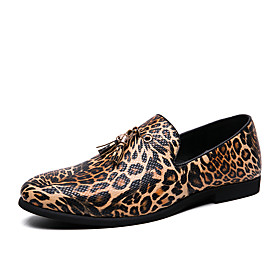 Men's Loafers  Slip-Ons Business / Casual Daily Office  Career Walking Shoes Cowhide Waterproof Non-slipping Wear Proof Black / Burgundy / Gold Leopard Spring