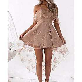 A-Line Beautiful Back Sexy Homecoming Cocktail Party Dress Spaghetti Strap Sleeveless Short / Mini Satin with Lace Insert 2020