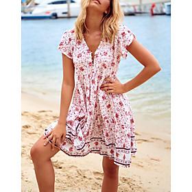 Women's A-Line Dress Short Mini Dress - Short Sleeve Floral Summer V Neck Casual 2020 Blushing Pink Green S M L XL