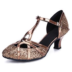 Women's Dance Shoes Latin Shoes / Modern Shoes / Ballroom Shoes Heel Buckle Cuban Heel Customizable Black / Bronze / Gold / Performance / Salsa Shoes / Practic