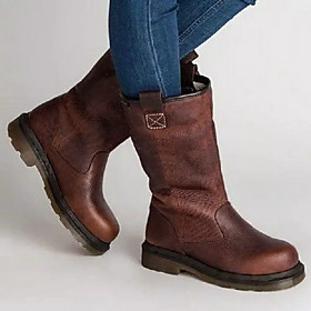 Women's Boots Comfort Shoes Flat Heel Round Toe PU Mid-Calf Boots Fall  Winter Brown