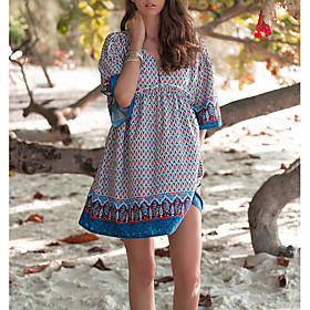 Women's Mini Shirt Dress - Half Sleeve Print Summer V Neck Casual 2020 Blue M L XL XXL