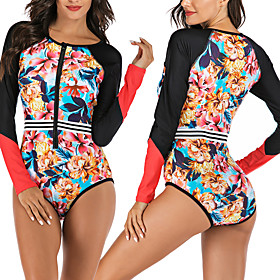 Women's One Piece Swimsuit Floral Padded Swimwear Swimwear Black UV Sun Protection Breathable Quick Dry Long Sleeve - Swimming Water Sports Summer / Stretchy