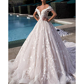 Ball Gown A-Line Wedding Dresses Off Shoulder Court Train Lace Tulle Short Sleeve Vintage Sexy Wedding Dress in Color Backless with Tassel Embroidery Appliques