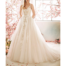 A-Line Wedding Dresses V Neck Sweep / Brush Train Tulle Sleeveless Vintage Sexy Wedding Dress in Color See-Through Backless with Pleats Embroidery Appliques 20