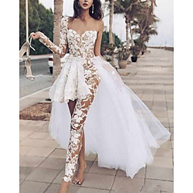 Two Piece Jumpsuits Wedding Dresses One Shoulder Floor Length Lace Tulle Long Sleeve Beach Sexy See-Through with Pleats Embroidery Appliques 2020