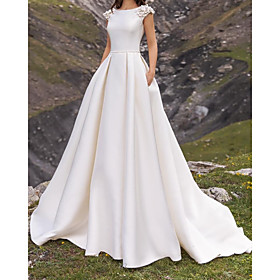 A-Line Wedding Dresses Jewel Neck Sweep / Brush Train Satin Cap Sleeve Simple with Appliques 2020