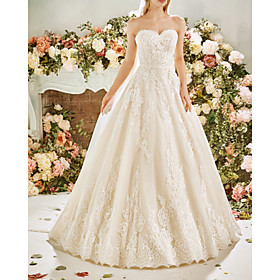 A-Line Wedding Dresses Strapless Sweep / Brush Train Lace Tulle Sleeveless Vintage Sexy Wedding Dress in Color Backless with Pleats Embroidery 2020