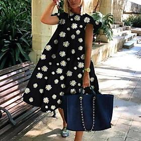 Women's A-Line Dress Daisy Midi Dress - Short Sleeves Floral Fall Elegant Slim 2020 Black Green S M L XL XXL