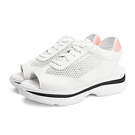 Women's Sandals Wedge Sandals Summer Wedge Heel Open Toe Sporty Daily Outdoor Lace-up PU White / Pink