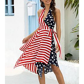 Women's A-Line Dress Knee Length Dress - Sleeveless Flag Summer V Neck Streetwear 2020 Red S M L XL