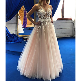 A-Line Wedding Dresses Jewel Neck Floor Length Lace Tulle Sleeveless Sexy Wedding Dress in Color See-Through with Appliques 2020