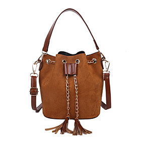 Women's Bags PU Leather / Polyester Bag Set 2 Pieces Purse Set Tassel Chain Solid Color for Daily / Office  Career Dark Brown / Black / Red / Brown / Bag Sets