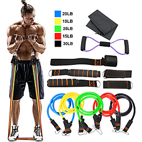 Resistance Band Set 12 pcs 5 Stackable Exercise Bands Door Anchor Legs Ankle Straps Sports TPE Home Workout Pilates Heavy-duty Carabiner St