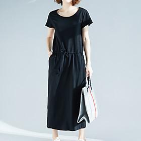 Women's A Line Dress - Short Sleeves Solid Color Spring Summer Elegant Street chic Daily Weekend 2020 Black XL XXL XXXL XXXXL / Cotton