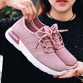 Women's Trainers / Athletic Shoes Summer Flat Heel Round Toe Daily Mesh White / Black / Pink