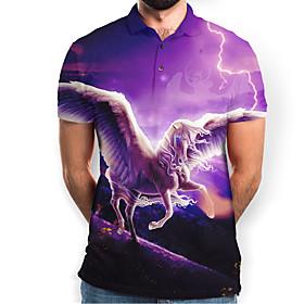 Men's Graphic Animal Horse Slim Polo Basic Elegant Daily Going out Purple / Short Sleeve