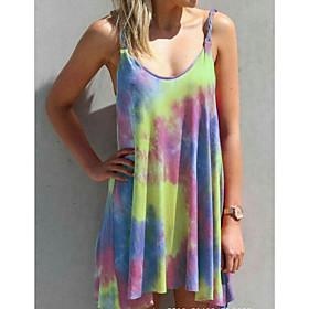 Women's Plus Size Mini Sheath Dress - Sleeveless Tie Dye Summer Strap Elegant 2020 Purple Yellow Fuchsia Green Gray M L XL XXL XXXL XXXXL XXXXXL