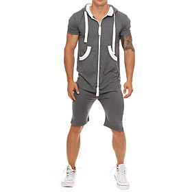 Men's Zipper Front Black Light gray Navy Blue Romper Onesie, Solid Colored Patchwork US32 / UK32 / EU40 US34 / UK34 / EU42 US36 / UK36 / EU44
