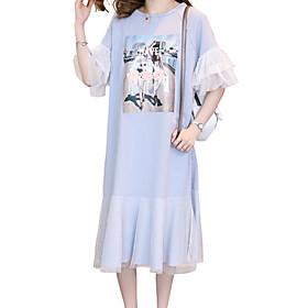 Women's Shift Dress - 3/4 Length Sleeve Floral Ruffle Mesh Summer Fall Casual Elegant 2020 White Blue S M L XL XXL