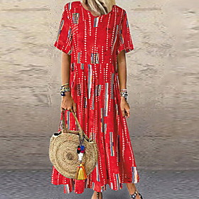 Women's Maxi A Line Dress - Short Sleeves Geometric Summer Street chic 2020 Purple Red S M L XL